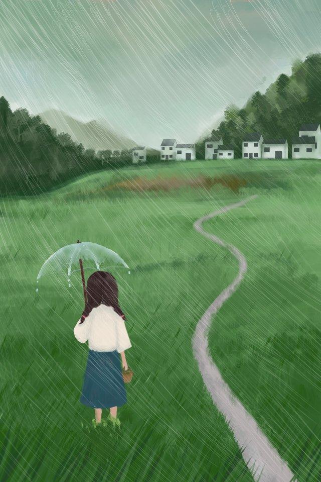 twenty four solar terms light rain girl rain llustration image