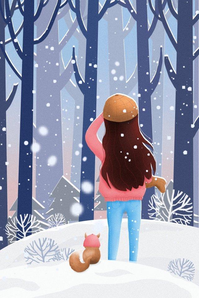 二十四節氣osamu冬季景觀 插畫素材