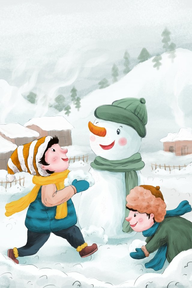 야외 겨울 스물 네 개의 태양 용어 삽화 소재 삽화 이미지