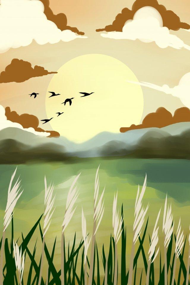 twenty four solar terms white dew hongyan reed llustration image