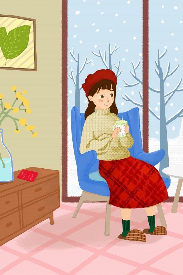 twenty-four solar terms winter solstice light snow heavy snow, Hand Painted, Illustration, Snow illustration image