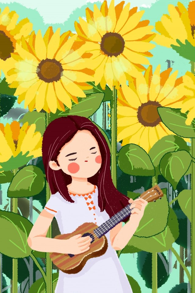 ukulele girl playing playing the piano, Music, Sunflower, Blue illustration image