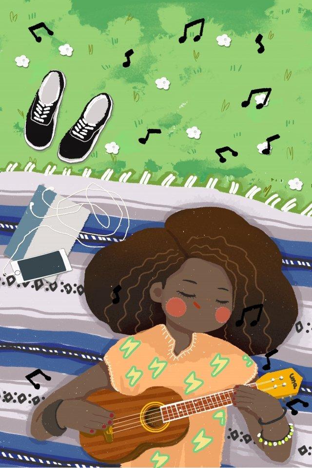 ukulele tocando piano tocando menina Material de ilustração