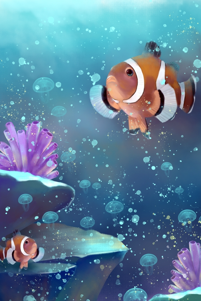 underwater world clownfish sea ​​anemone coral, Ocean, Sea, Jellyfish illustration image