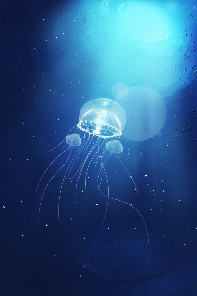 underwater world ocean jellyfish bright light, Hand Painted, Blue, Underwater World illustration image