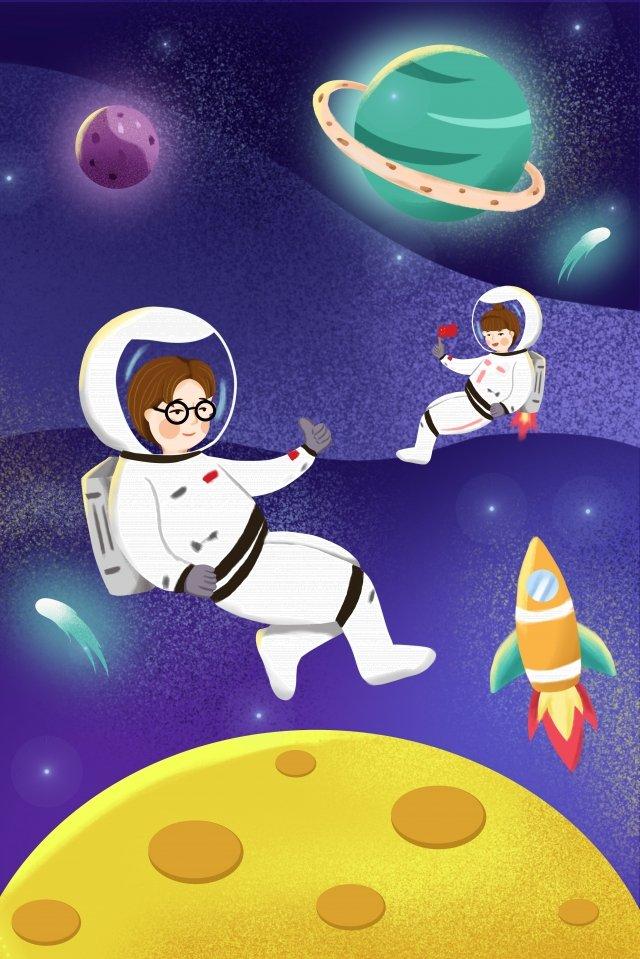 вселенная планета астронавт луна Ресурсы иллюстрации