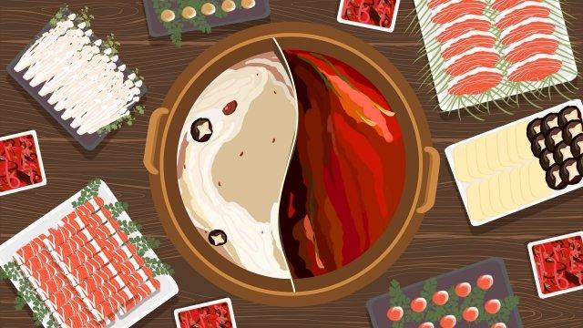 городская кухня горячий горшок иллюстрация шабу шабу Ресурсы иллюстрации