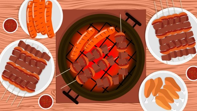 urban cuisine korean barbecue grilled meat food, Delicious, Tasty, Meat Skewers illustration image