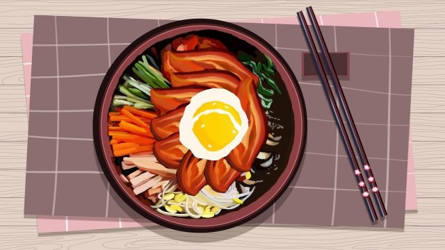 都市料理韓国風ビビンバの図 イラスト素材