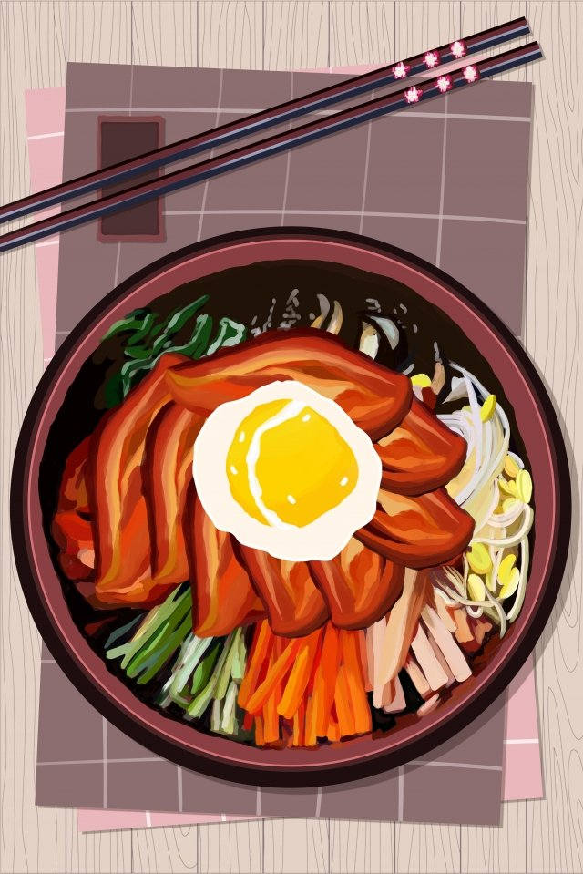 urban cuisine korean style bibimbap illustration, Food, Delicious, Tasty illustration image