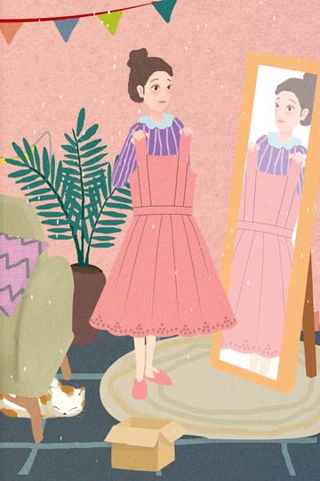 urban life girl home sofa, Potted Plant, Dressing Mirror, Clothes illustration image