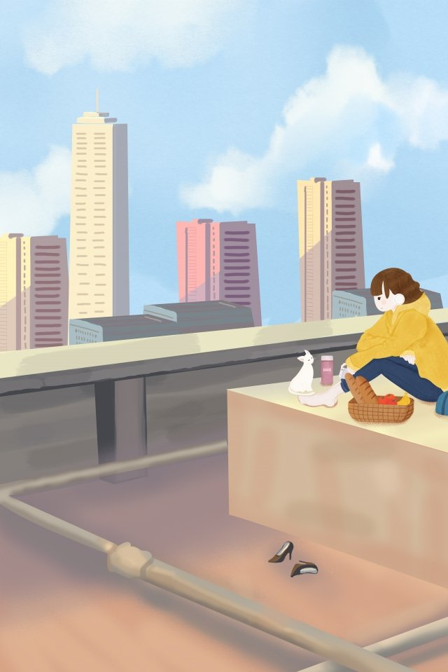 urban life high building roof blue sky and white clouds, Meals, Cat, Girl illustration image