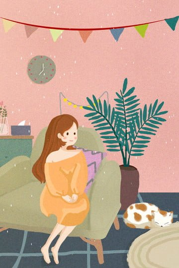 urban life home sofa cat, Potted Plant, Sitting Girl, Warm Color illustration image