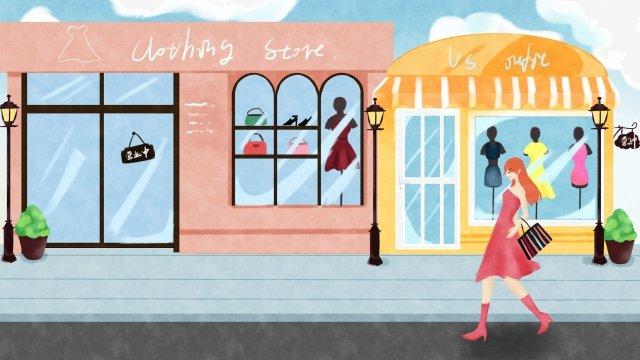 도시 생활 쇼핑 구매 옷 수명 삽화 소재 삽화 이미지