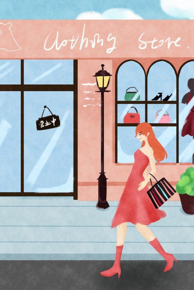 도시 생활 쇼핑 구매 옷 수명 삽화 소재