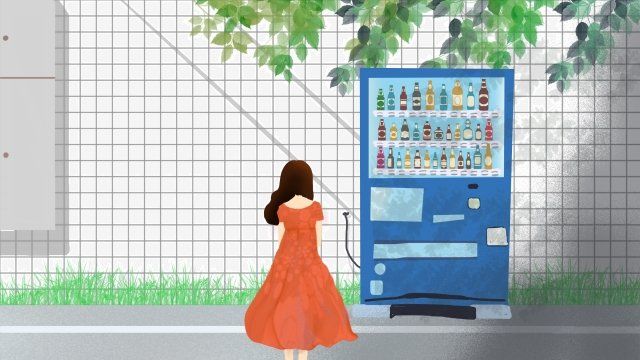 urban life wall drink vending llustration image