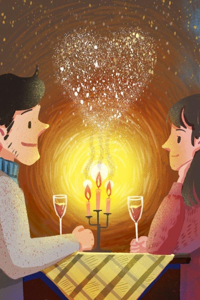 バレンタインデー予約ロマンチックなキャンドルライトディナー イラスト素材 イラスト画像