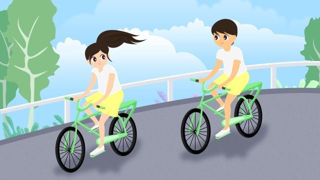 valentines day couple bicycle public, Traffic, Hand Painted, Illustration illustration image