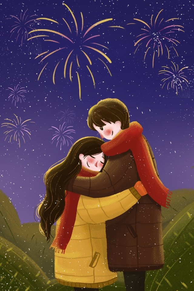 valentines day couple embrace illustration, Cure, Hand Painted, Fireworks illustration image
