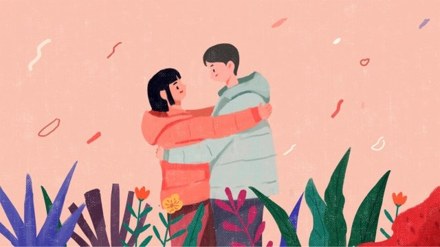 valentines day couple embrace love, Flower, Romantic, Cartoon illustration image