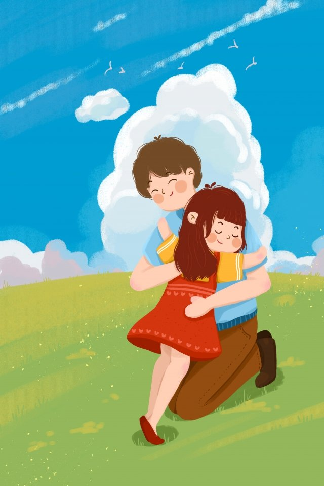 valentines day couple father and daughter embrace, Blue Sky, White Clouds, Blue illustration image