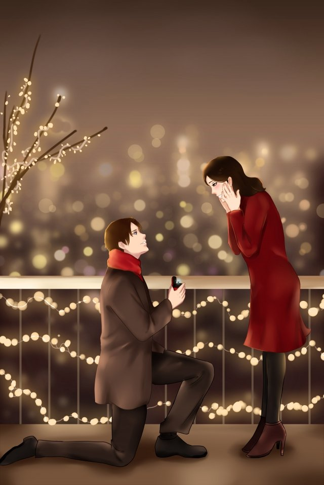 valentines day couple lover romantic, Propose, Send Ring, Love illustration image