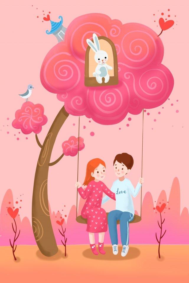 Dia dos Namorados casal balançando debaixo da árvore Dia dos namorados Par Pink Sonho RomânticoDia  Dos  Namorados PNG E PSD illustration image
