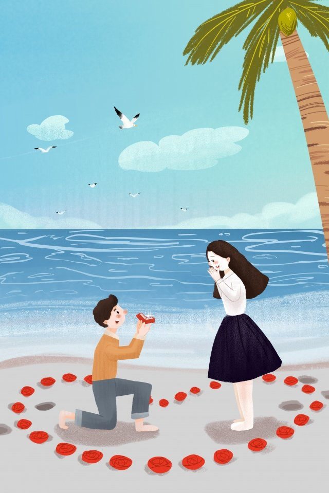 valentines day couple seaside hand painted, Propose, Girls, Draw illustration image