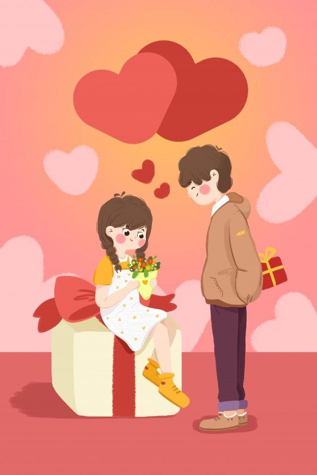 バレンタインの日のカップルはギフトの愛を送る イラスト素材