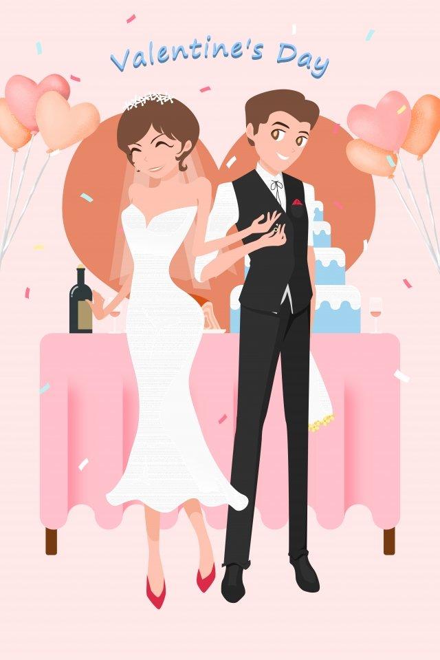 バレンタインの日カップル暖かい色の結婚式のシーン イラスト素材