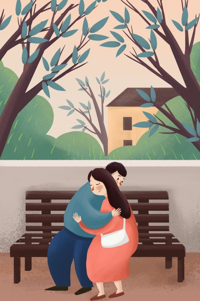 valentines day illustration couple lovers, Embrace, Street Corner, Hand Painted illustration image