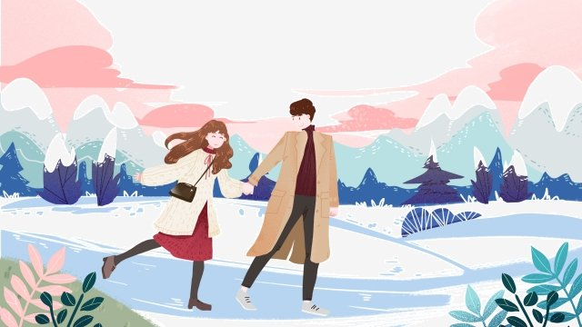 valentines day little boys and girls romantic date snow walk llustration image illustration image