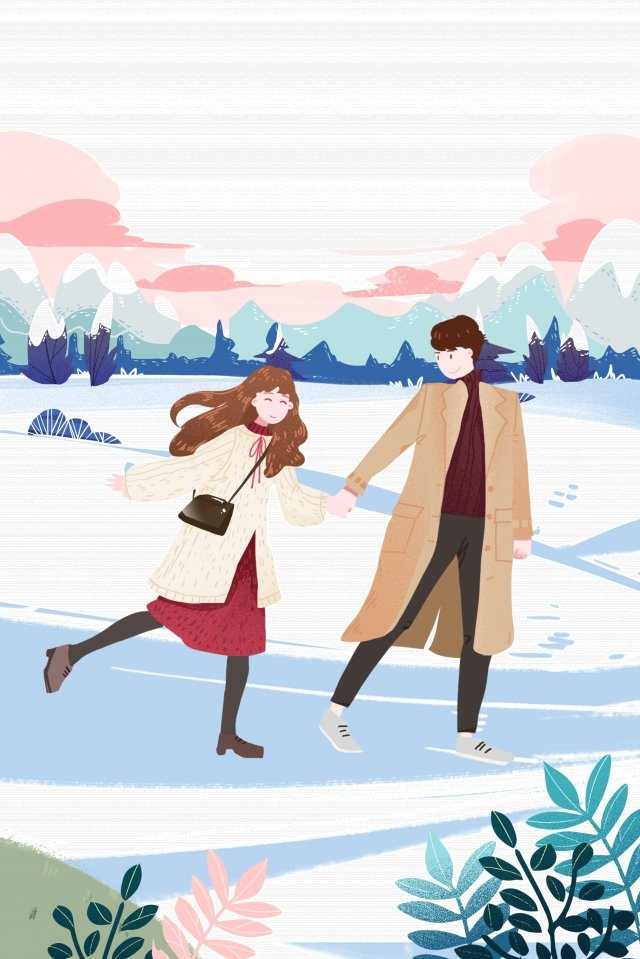 valentines day little boys and girls romantic date snow walk, Love, Sweet, Walk illustration image