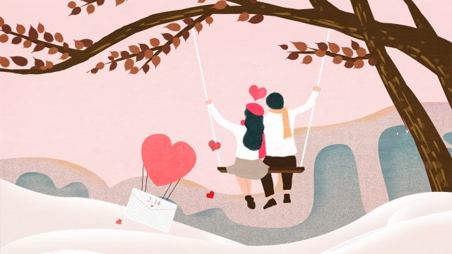 valentines day lovers love swing llustration image