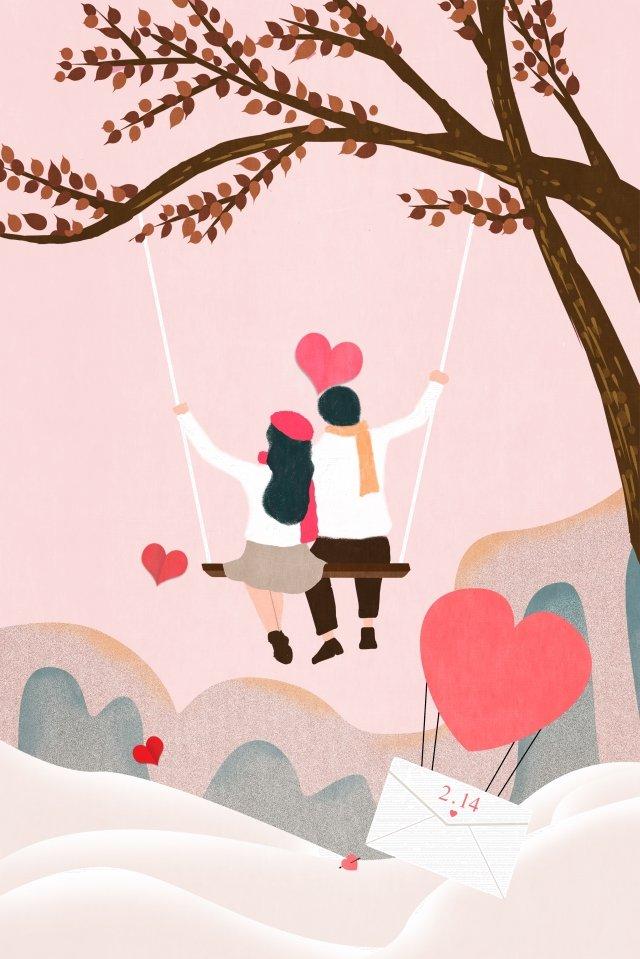 バレンタインの日の恋人たちはスイングが大好き イラストレーション画像