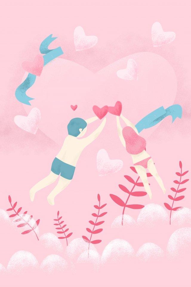 발렌타인 데이 남자와 여자 식물 사랑 삽화 소재