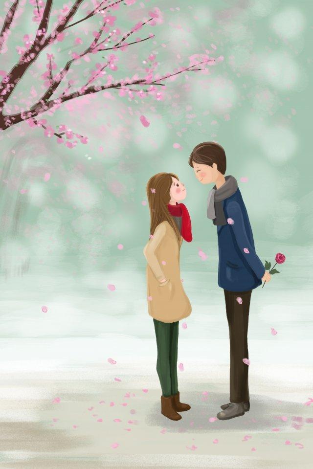 バレンタインデー花バラ桜の木を送る イラストレーション画像 イラスト画像