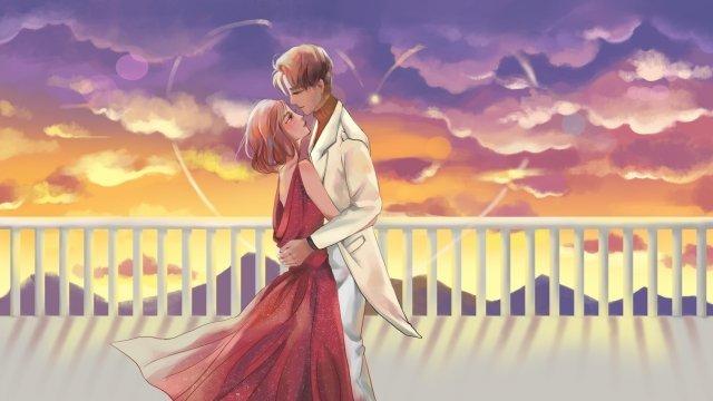 バレンタインの日サンセットカップル大きなシーン イラスト素材 イラスト画像