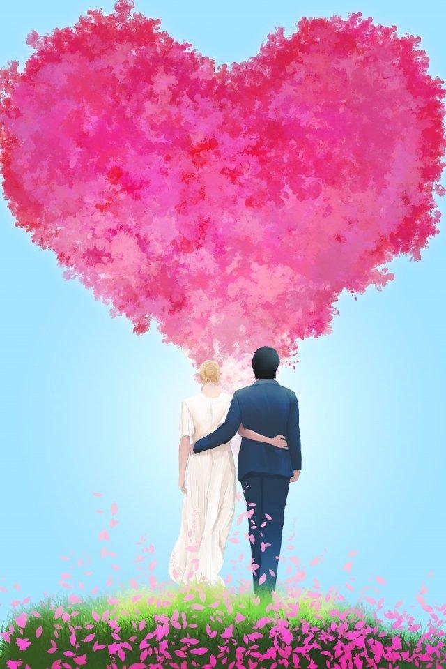 バレンタインの日七夕バラの花 イラスト素材