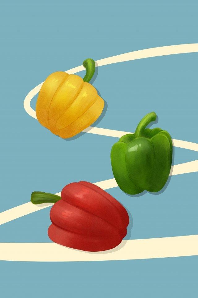 야채 과일 피망 다채로운 고추 삽화 소재 삽화 이미지