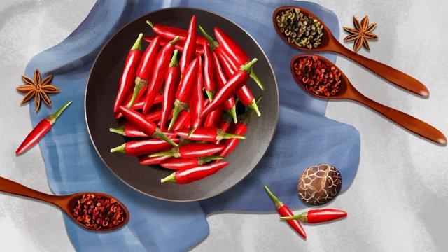 vegetables red chili chili small pepper llustration image illustration image