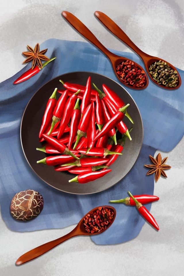야채 붉은 고추 작은 고추 붉은 고추 삽화 소재