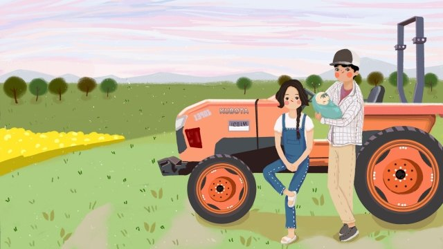 village life family of three tractor farm work, Farming, Baby, Parents illustration image