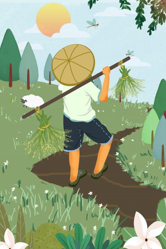 village life farm work green work llustration image