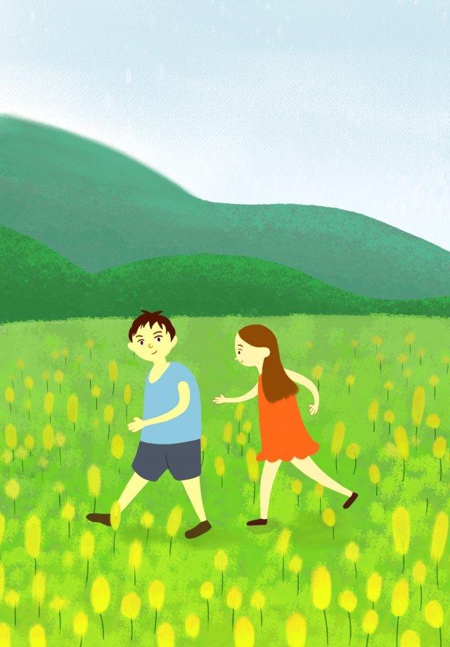마을 생활 손으로 그린 그림 소녀 소년 삽화 소재 삽화 이미지