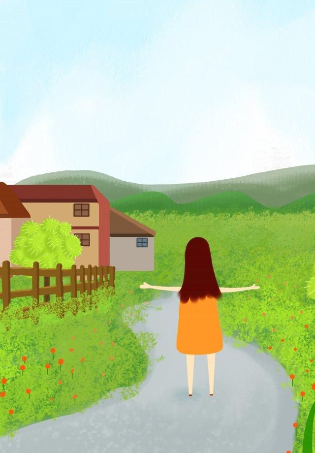 마을 생활 손으로 그린 그림 초원 소녀 삽화 소재