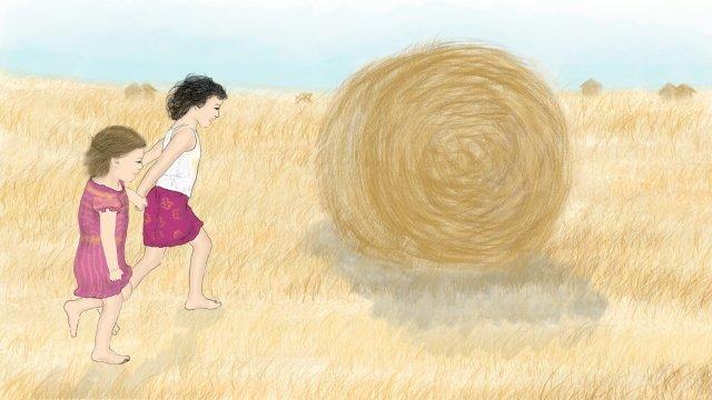 ग्राम जीवन चित्रण गेहूं के खेत की कटाई चित्रण छवि