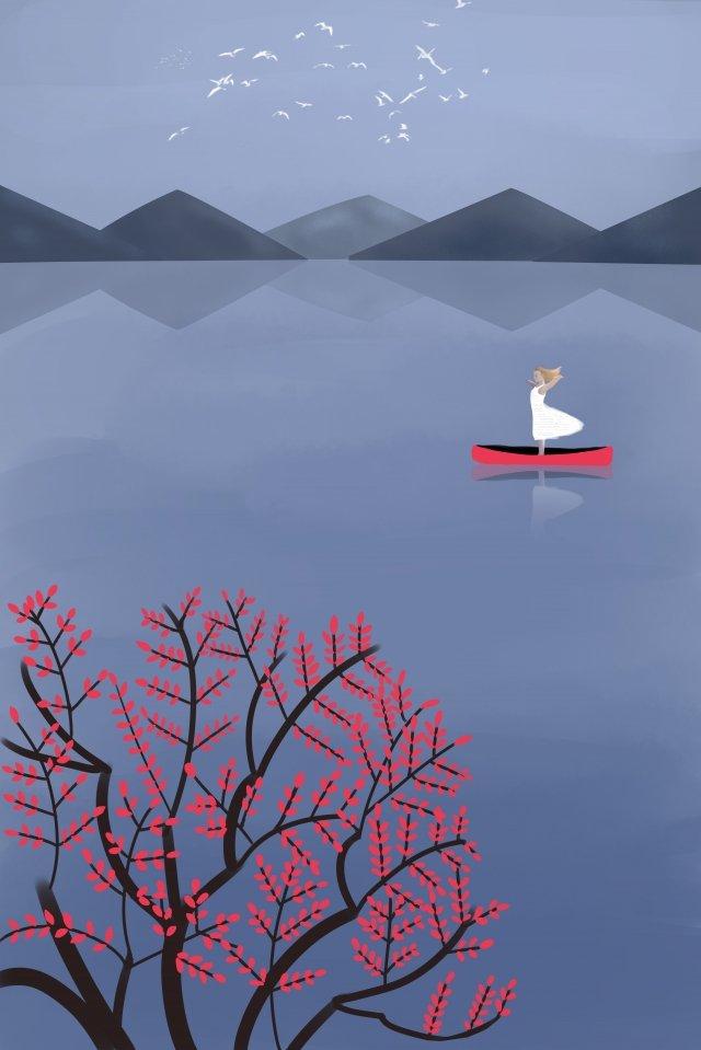 村生活風景木純粋な手描き イラスト素材 イラスト画像
