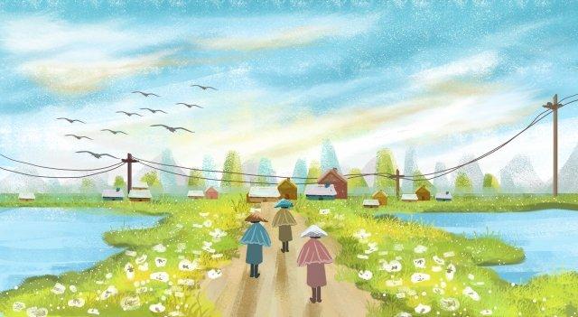 村小さな村緑野生のガチョウ イラストレーション画像 イラスト画像