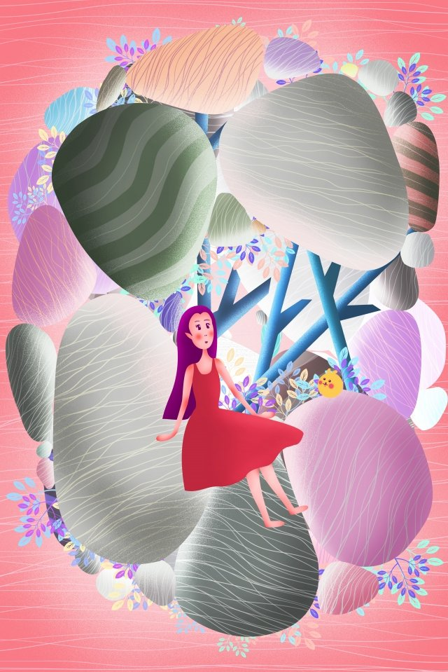 vitality girl cute cartoon stone mountain, Girl, Travel, Adventure illustration image